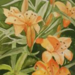 """Daylilies"" by Noreen Normand on display at the Norwalk Public Library - April 2019"