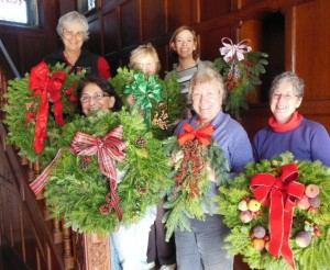 Decorated wreaths for Christmas fair 2014
